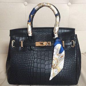 Handbags - HERMÈS BIRKIN LIKE BLACK CROC PRINT HANDBAG